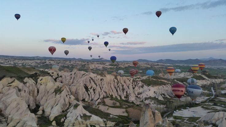 Hot air balloons in Cappadocia in Turkey