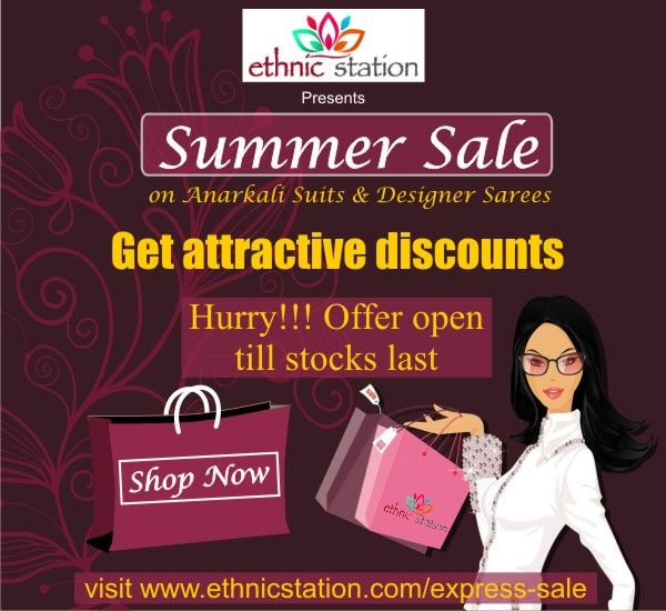 Announcing #SummerSale on Ethnic wear. Grab gorgeous dresses at unbeatable prices. Hurry offer available only till stock lasts. # Sale duration - 5th June to 22nd June # Offer limited to dresses available on Express Sale page # Any coupon code or any other offer can not be combined for purchasing Express sale dresses # Offer only available till stocks last