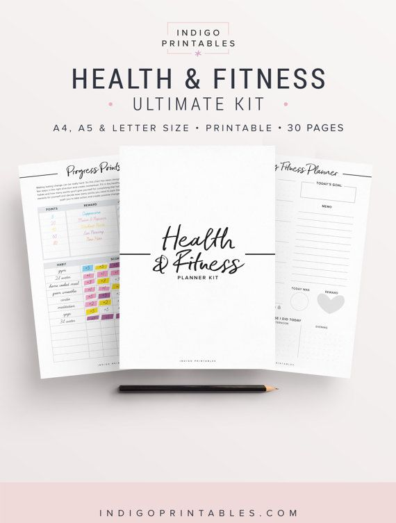 Fitness Planner Workout Planner Health Planner by IndigoPrintables