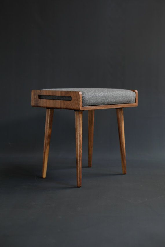 Stool / Seat / Ottoman / bench in solid Walnut board by Habitables