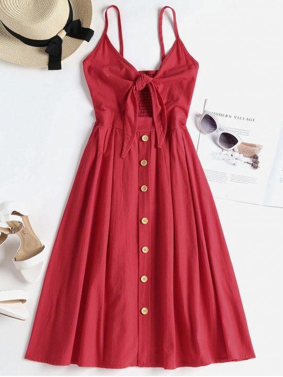 $23.27  Smocked Tie Front Cami Dress – Valentine Red S