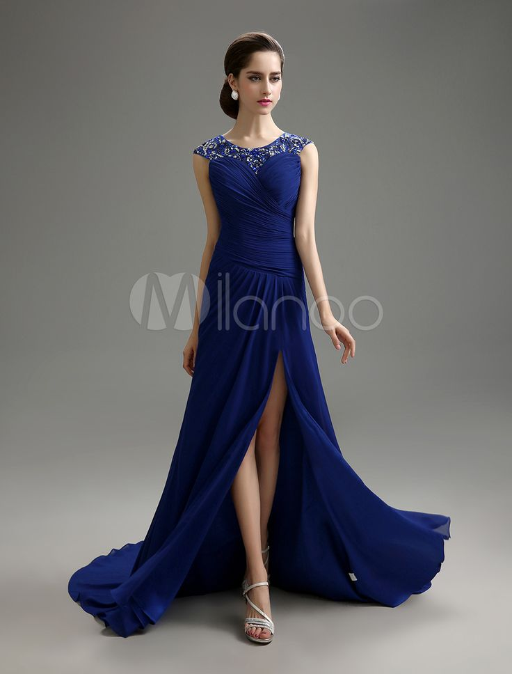 Beaded & Ruched Chiffon Dress For Mother of the Bride