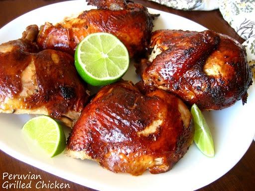 Peruvian Grilled Chicken with Green Chile Sauce - Pollo a la Brasa and Aji Verde