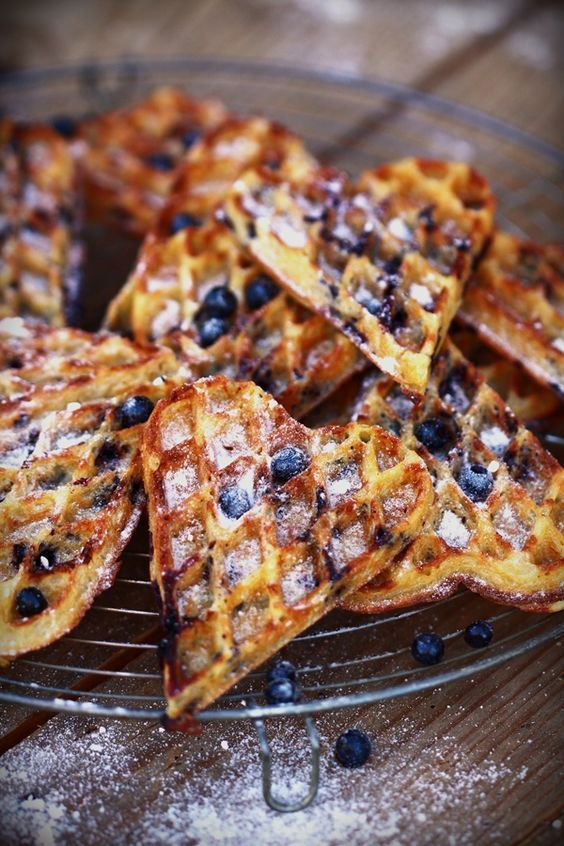 [Wild] Blueberry Waffles.  French recipe, substitues water and/or beer for milk for a crispy surface/ soft heart authentic French fairground waffle