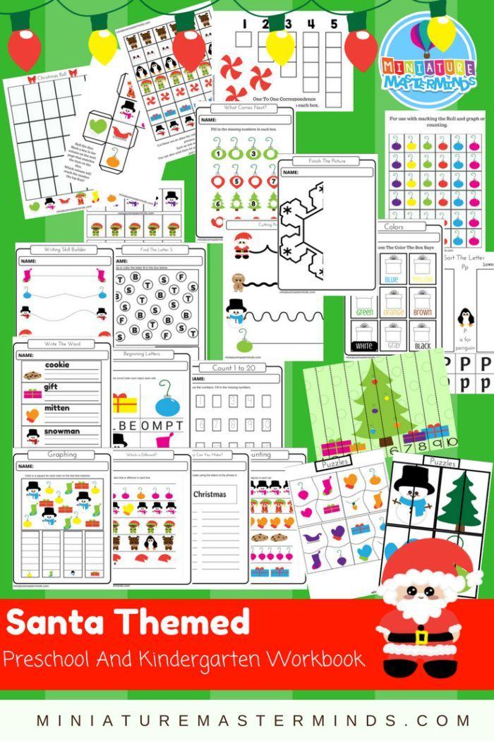Santa Themed Preschool and Kindergarten Workbook.
