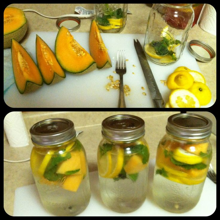 Melon,mint and lemon water . Infuse in mason jar