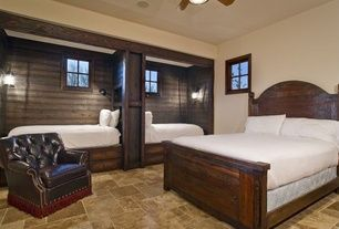 Craftsman Guest Bedroom with Paint 2, Cordoba Wood Rustic Panel Bed, Standard height, bedroom reading light, Transom window