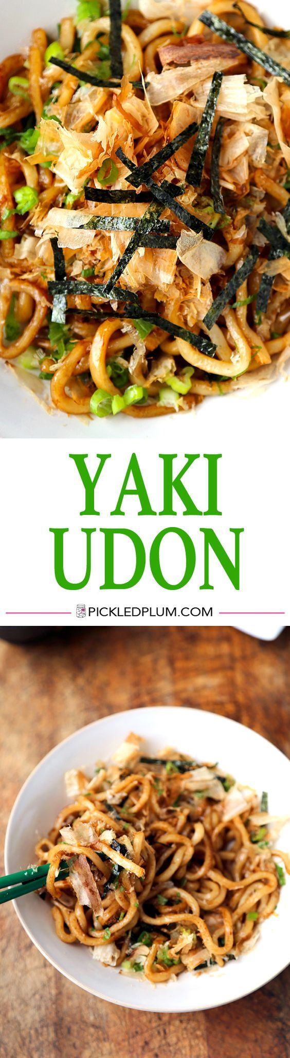 10 Minute Yaki Udon with Dashi Butter Recipe - quick stir fried udon noodles with soy sauce, dashi, butter and fresh scallions. The best! http://www.pickledplum.com/yaki-udon-butter-recipe/