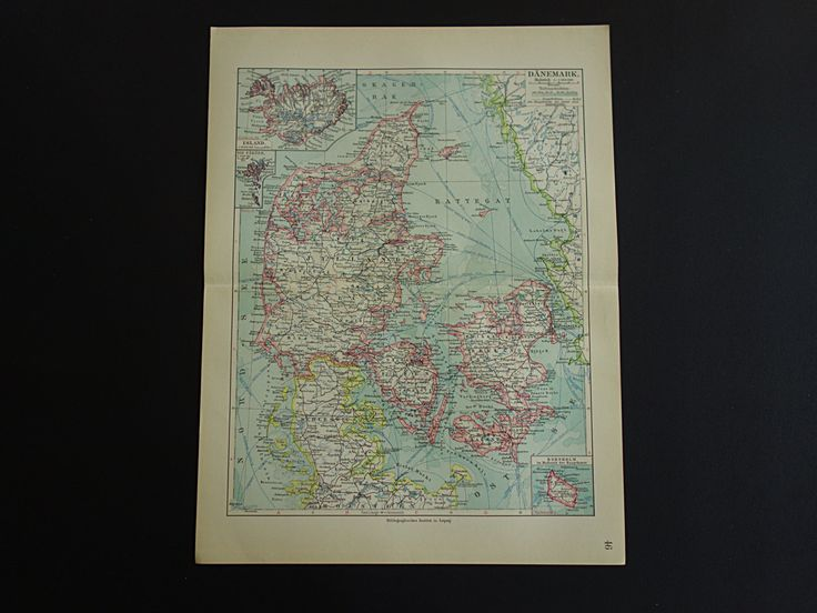 Original 100+ year old map of Denmark - 1913 antique detailed print Iceland - vintage poster Dänemark Denemarken gamle kort over Danmark by VintageOldMaps on Etsy