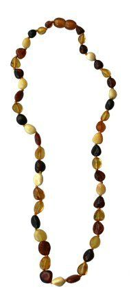 """Baltic Amber Necklace, Multi Color Oval, 12-13"""" by Camden Rose. Save 10 Off!. $18.99. Amber baby necklaces are designed and custom made for babies, all they have to do is wear it on their skin, to diminish the pain and discomfort caused by teething. An appropriate length of teething necklaces is (approx 12? or 32 cm) to ensure the majority of children shouldn't be able to fit the necklace in their mouth while it's been worn. Wearing baltic amber is a traditional European remedy for teething…"""