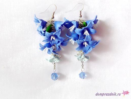 Подарок своими руками из полимерной глины: Серьги «Синие колокольчики»
