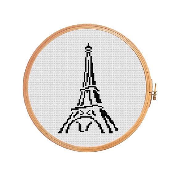 Eiffel Tower - Cross stitch pattern - art supplies crafts for kids etsy on sale selling online paris france hotels paris casino
