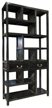 NOIR Furniture - Ming Bookcase - BCS102, Hand Rubbed Black midcentury-bookcases