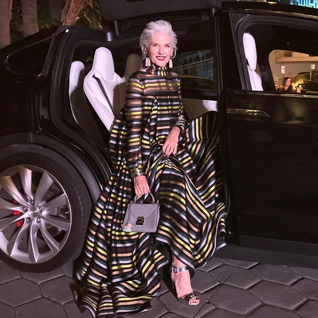 Arriving @harpersbazaarus 150 year celebration. Thank you @glendabailey for the invite and my glam team @juliaperryh @shhhelander for choosing this gorgeous @emiliawickstead gown, #shoes @giuseppezanottidesign #bag #marccross #bracelets @spinellikilcollin #earrings @lfjewels #fun #fashion Does anyone recognize the TeslaX? #falconwingdoors