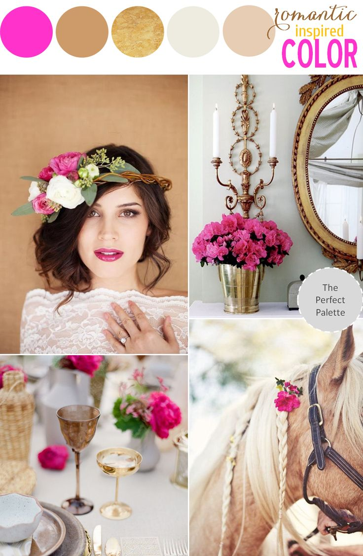 Romantic Inspired Color | Fuchsia, Gold & Beige http://www.theperfectpalette.com/2014/01/romantic-inspired-color-shades-of.html