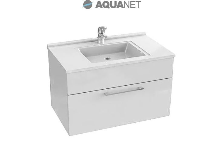 Тумба De Aqua Квадро-1 90 белый с раковиной для ванной комнаты купить в Москве - Акванет.Ру