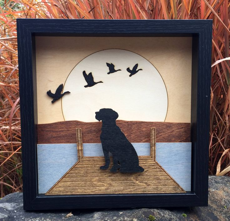 3D Laser Cut Shadow Box Wood Scene Inlaid, Etched / Dog on Dock with Ducks / Lake and Mountains / Moon / Handcrafted / Custom / Wall Decor