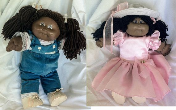 2 African American Black CABBAGE PATCH Baby Dolls by Thriftnstyle