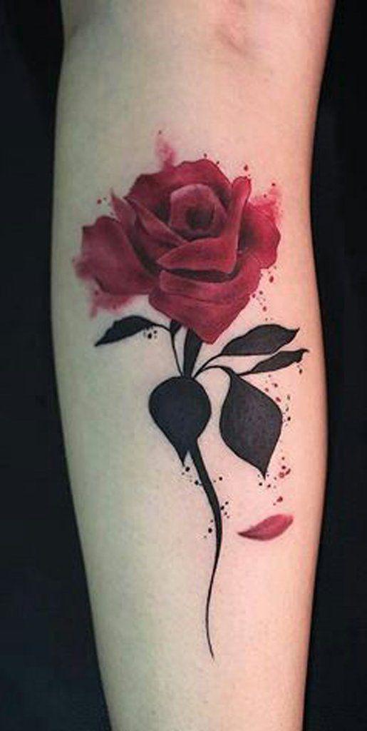 2096ea5b2 Beautiful Single Red Rose Forearm Tattoo Ideas for Women - Beautiful Flora  Flower Arm Tat - ideas únicas del tatuaje del antebrazo de la rosa roja  para las ...