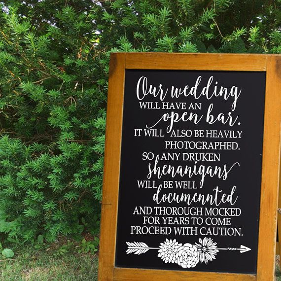 Open Bar Drunken Shenanigans Proceed With Caution Wedding Sign Chalkboard Decals