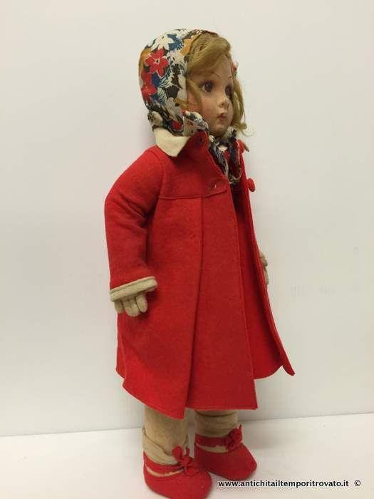 Giocattoli antichi - Bambole Bambola Lenci - Antica bambola con cappottino rosso Immagine n°1