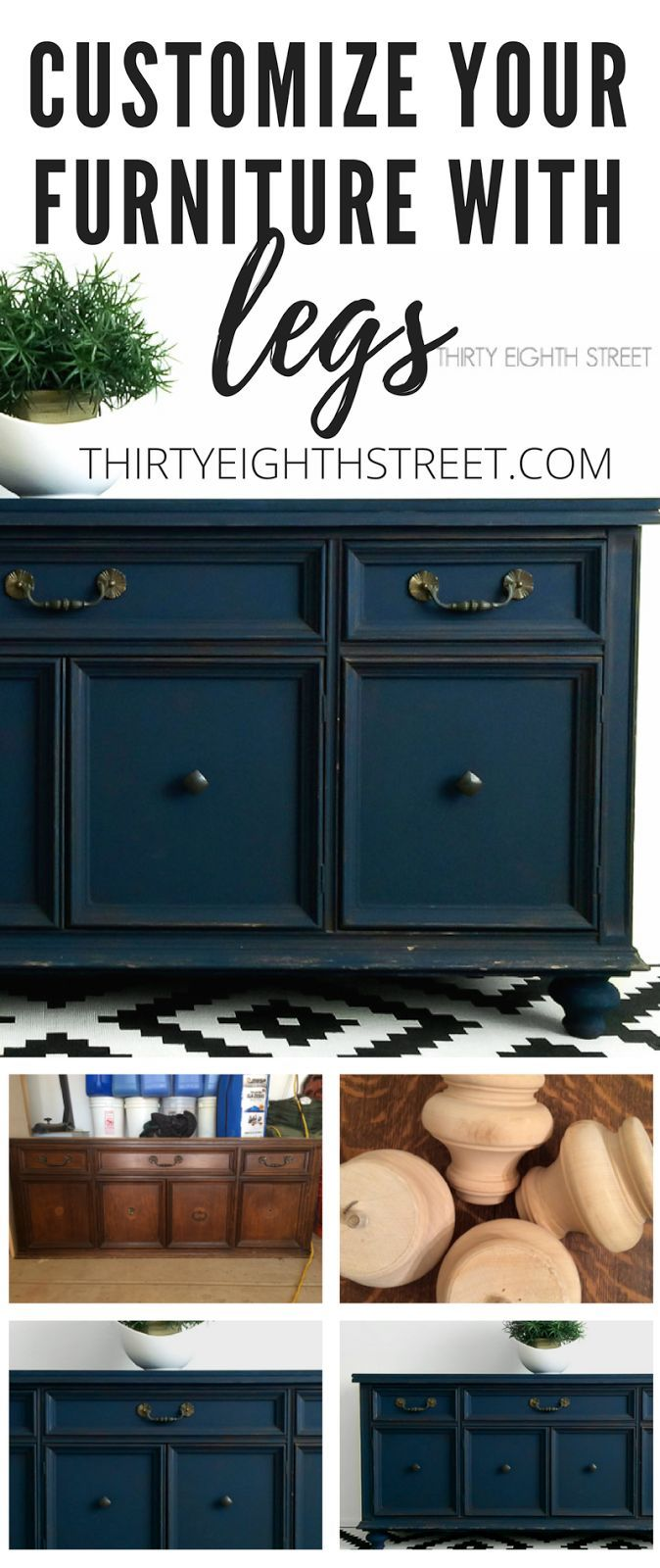 How To Add Legs To Furniture For An Easy Custom Look! Fabulous Tutorial by Thirty Eighth Street.