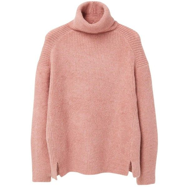 Mango Turtle Neck Jumper, Bubblegum Pink found on Polyvore featuring tops, sweaters, pink turtleneck, red turtleneck, turtle neck sweater, roll neck sweater и chunky cable knit sweater