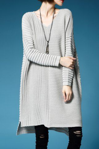 GET $50 NOW | Join RoseGal: Get YOUR $50 NOW!http://www.rosegal.com/sweater-dresses/v-neck-ruched-oversized-sweater-1202034.html?seid=9320315rg1202034