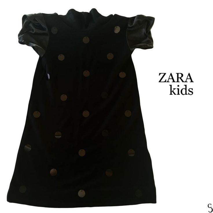 Zara Kids 7-8 Girls Anos Years Sequin Polka Dot Short Sleeve Black Dress_128 cm #ZARA #Dressy