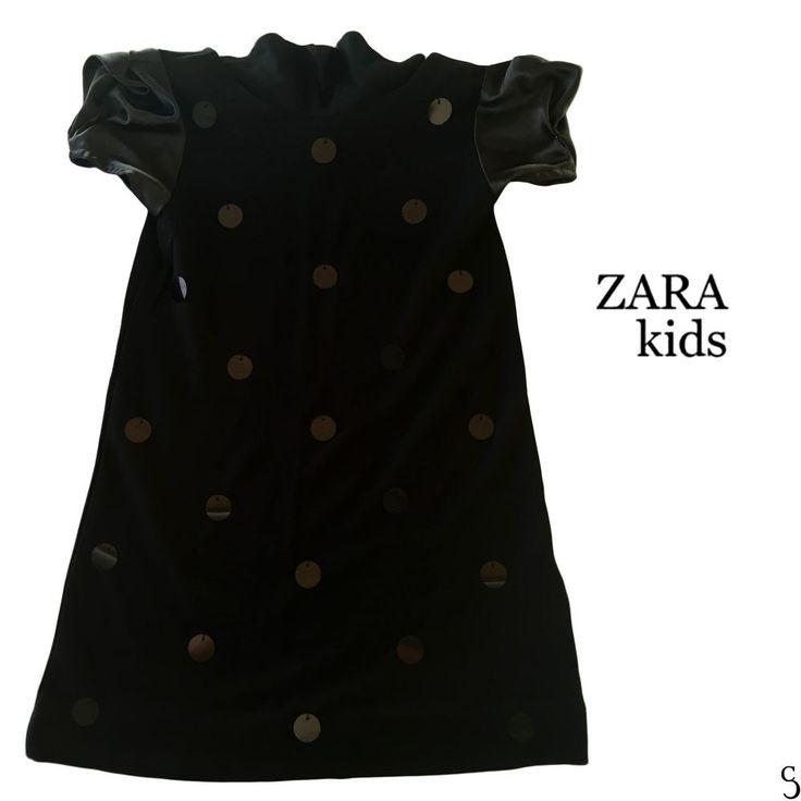Zara Kids 7-8 Girls Anos Years Sequin Polka Dot Short Sleeve Black Dress_128 cm #ZARA #Dressy