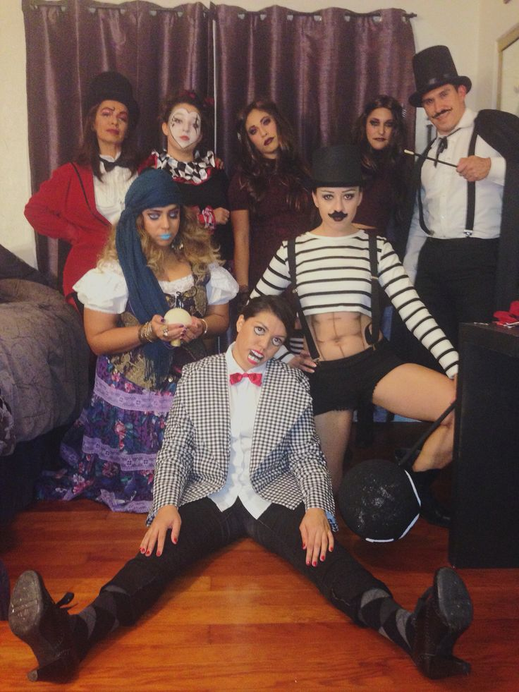 Vintage Circus group costume! Ring leader, jester, gypsy fortune teller, Siamese twins, magician, strong man, and a ventriloquist dummy.