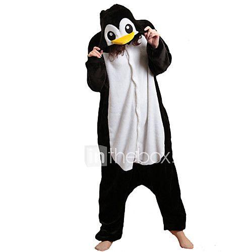 Kigurumi Pajamas Penguin Onesie Pajamas Costume Polar Fleece Black/White Cosplay For Adults' Animal Sleepwear Cartoon Halloween Festival 2018 - $29.94