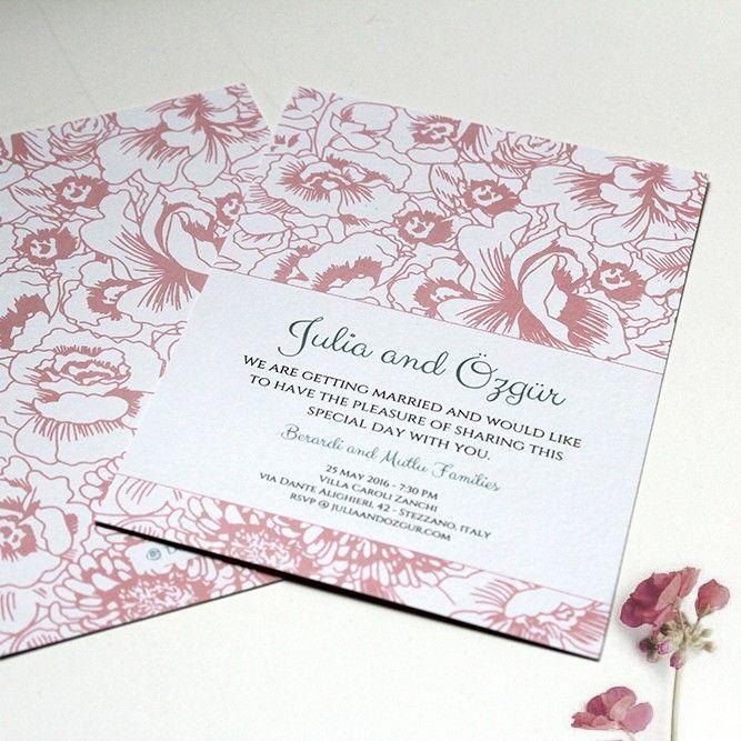 Klasik Vintage Çiçek - Vintage Çiçekli Düğün Davetiyesi Tasarım: © Dört Köşe Davetiye