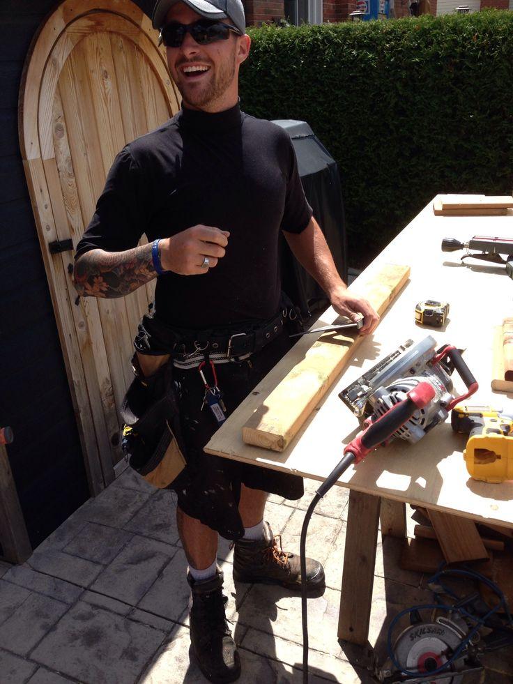 Evan cutting deck boards 15 Aug 14