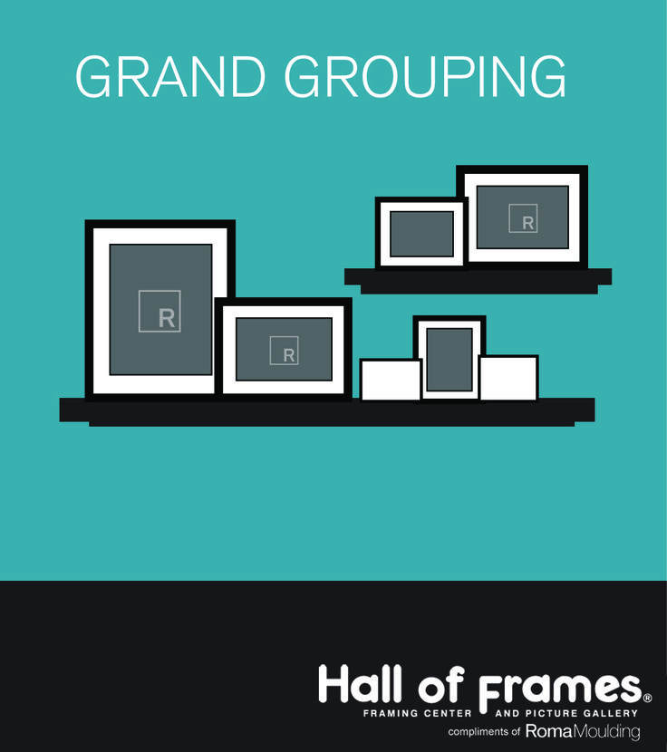 Nothing is more grand looking than a grouping of framed art and photos on a ledge!