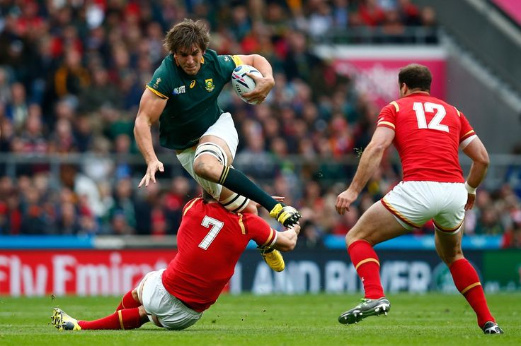 Rugby World Cup 2015 - Match Centre - Match 41SOUTH AFRICA V WALES - QUARTER FINAL: RUGBY WORLD CUP 2015 SPRINGING SPRINGBOK: Eben Etzebeth of South Africa takes off to try to avoid Sam Warburton's tackle as his Wales teammate Jamie Roberts watches