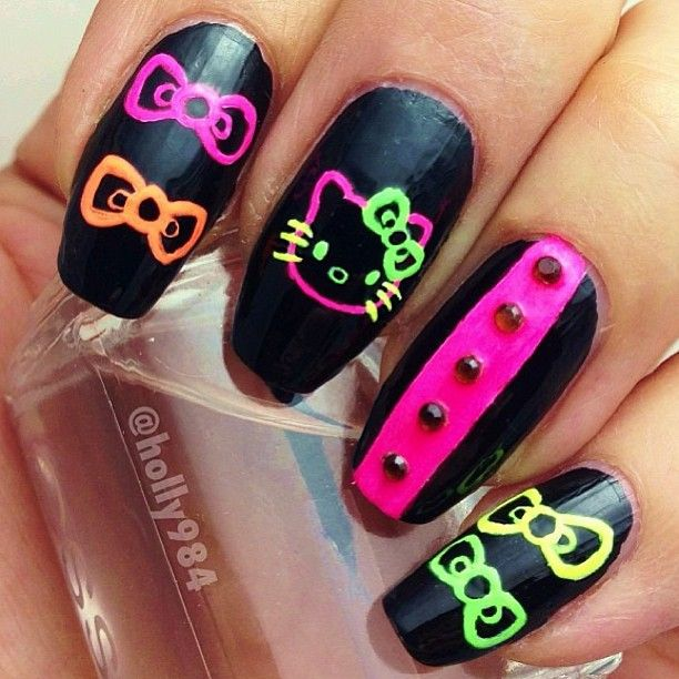 Neon Hello Kitty nails  @Holly Elkins Elkins Griego ✨ #Padgram