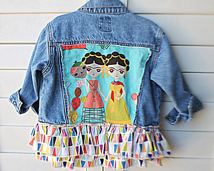 Toddler Upcycled Jean Jacket / Frida Kahlo Children's Jacket Size 12 to 24 Months / Funky Baby Clothes / Unique OOAK Girls Denim Coat by RelovedClothingCo on Etsy