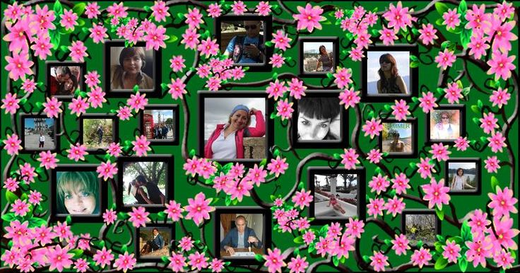Collage de fotos con flores de color rosa y 18 amigos!