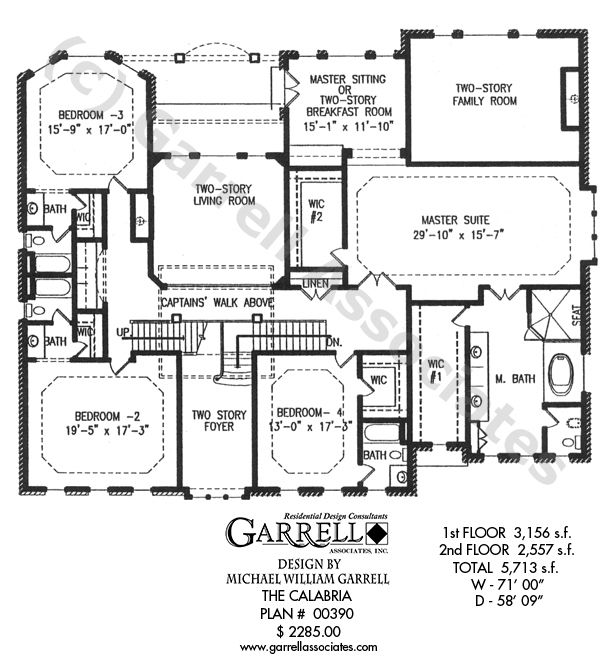 superior 2 story house plans master up #8: Master up house plan with two story foyer, grand room, living room and dual  master bedrooms