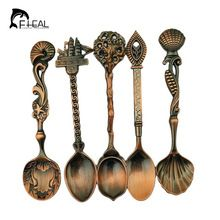5pcs/set Vintage Royal Style Bronze Carved Small Coffee Spoon Flatware Cutlery Kitchen Dining Bar Tools(China (Mainland))