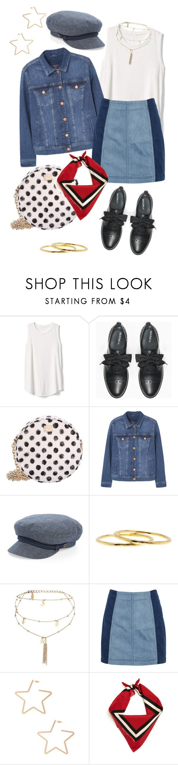 """""""Polka Dots Americana"""" by laurapa ❤ liked on Polyvore featuring Gap, Max&Co., Dolce&Gabbana, MANGO, Brixton, Argento Vivo, Ettika, Free People and Forever 21"""