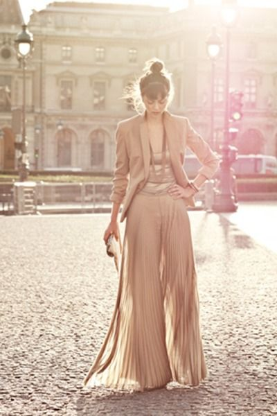 solid neutral: Outfits, Fashion, Nude, Palazzo Pants, Style, Colors, Blushes, Blazers, Maxi Skirts