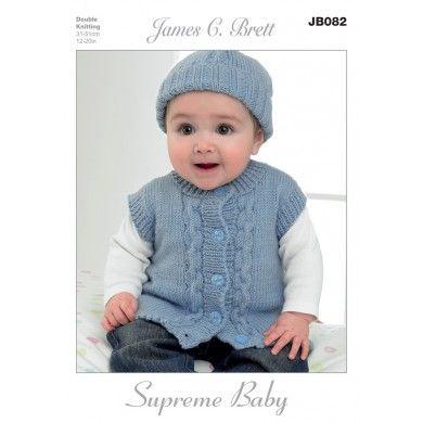 Hat, Mittens, Cardigan and Waistcoat in James C. Brett Supreme Baby DK - JB082 - Patterns