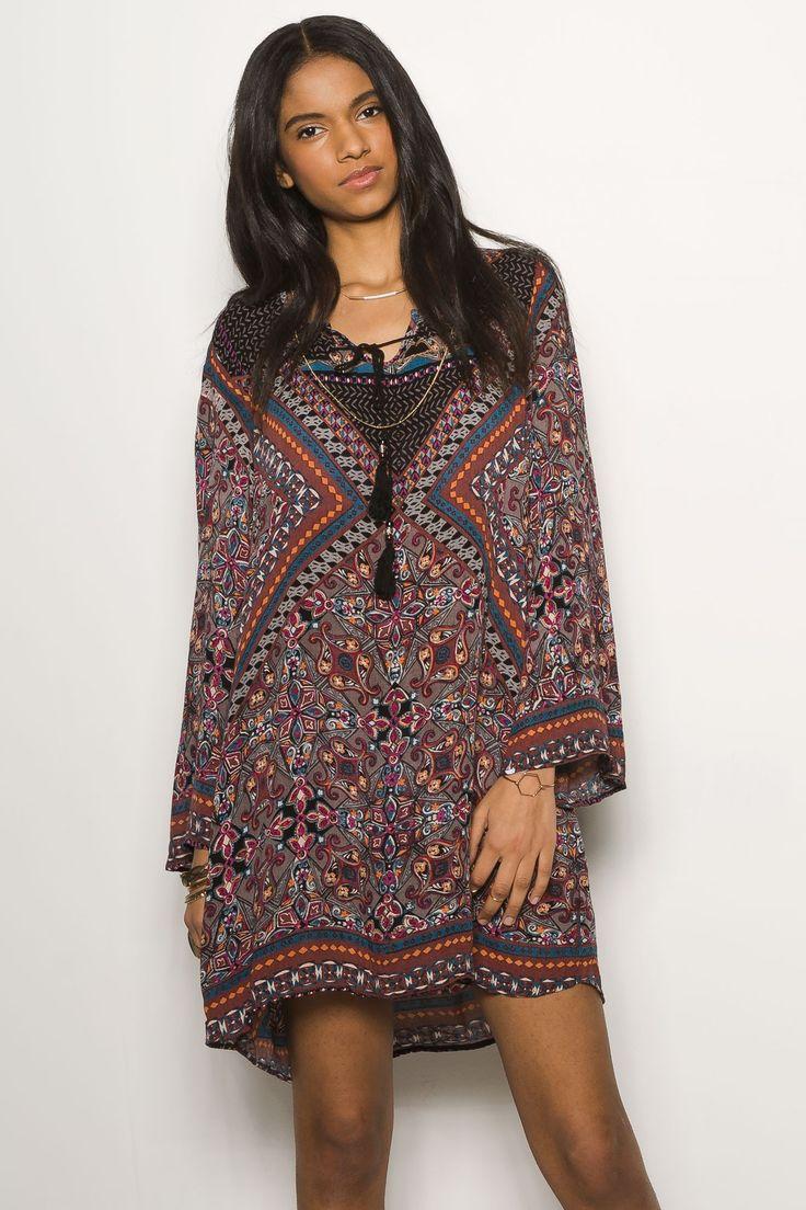 Printed Peasant Dress  $29.99