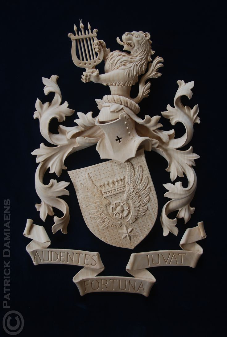 Coat of arms - Crest carved in limewood | Coat of arms Cornielje (Switserland) http://www.patrickdamiaens.be