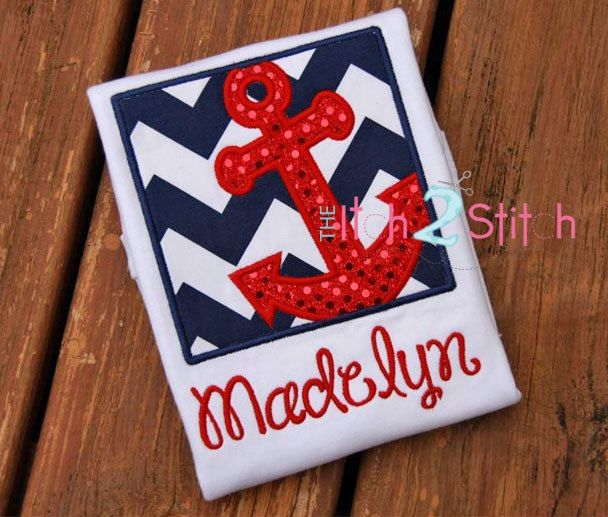 Anchor Box Custom Applique Shirt - Nautical Anchor Shirt - Cruise Shirt for Boys or Girls - Free Optional Name Personalization by RockintheTutu on Etsy