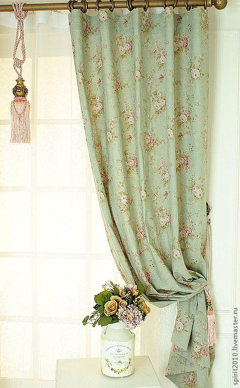 """Купить Шторы льняные """"Английские розы"""" - зеленый, шторы, шторы для гостиной, шторы для спальни, розы"""