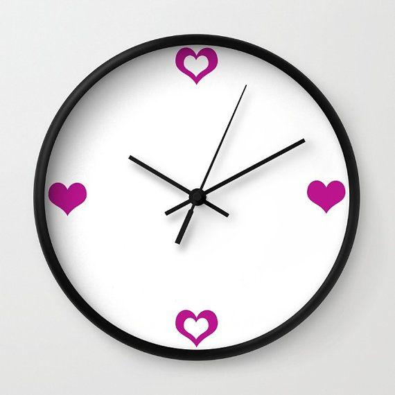 Heart Clock  Wall Clock  Magenta Purple by ShelleysCrochetOle
