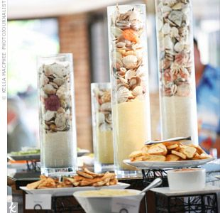 easy pretty table decor-- sand and seashells